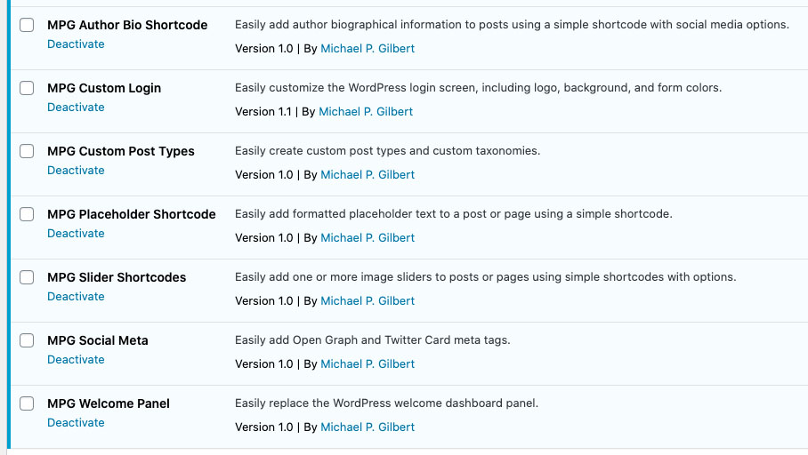 Screenshot of Michael's WordPress plugins, including author bio shortcode, custom login, custom post types, placeholder shortcode, slider shortcodes, social media, and welcome panel.